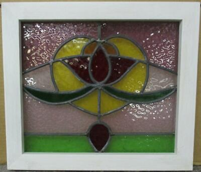 "OLD ENGLISH LEADED STAINED GLASS WINDOW Gorgeous All Color Abstract 17"" x 15"""