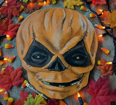 Hand Painted Trick R' Treat Wall Decor - Sam - Unmasked Wooden Plaque Halloween