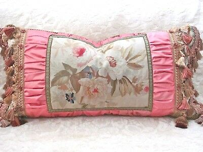 """BEAUTIFUL 19th c ANTIQUE AUBUSSON TAPESTRY FROM FRANCE FANCY PILLOW 18"""" x 30"""""""