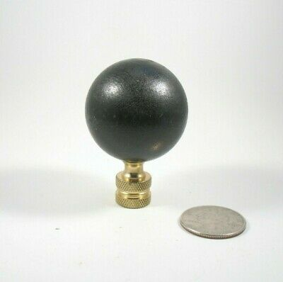 Lamp Finial Large Wooden Ball  Painted Black Solid Brass Fitting 37 mm  53T