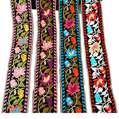1 Yard Flower Embroidered Trim Floral Bohemian Ethnic Ribbon DIY Sewing Edging
