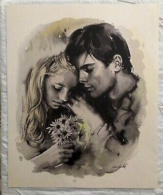 Two (2) Beautiful Vintage  Male & Female Portraits Watercolor Art Print By Sandy