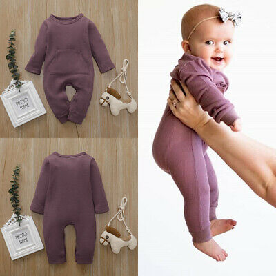 UK Newborn Baby Girl Boy Outfits Knit Long Sleeve Romper Jumpsuit Autunm Clothes