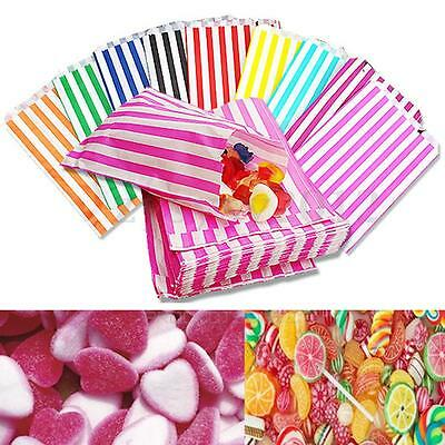 100x STRIPED CANDY PAPER BAGS FOR SWEET FAVOUR BUFFET WEDDING CAKE GIFT SHOP