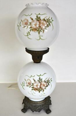 Vintage Victorian Style Milk Glass Table Lamp