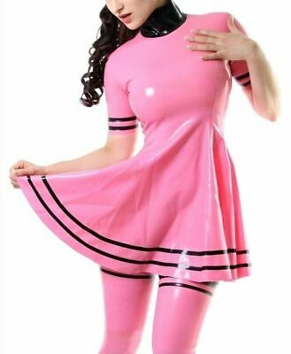 Hot Sale 100% Latex Rosa Kleid schwarz verziert Kurzarm Gummi 0.4mm Fixed size L