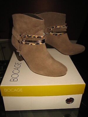 BOTTINES HEELED SUEDÉ SUEDE BEIGE BOOTS TALONS CUIR LEATHER rQdxeWoCB