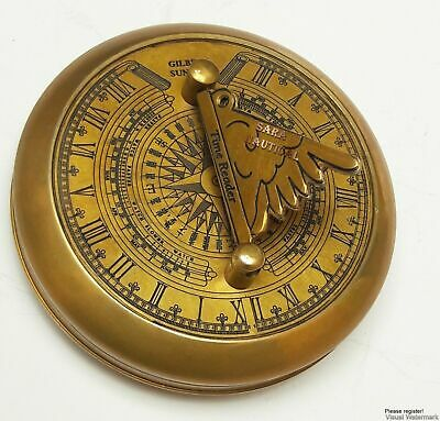 Maritime-Antique-Brass-Pocket-Compass-Gilbert-Sundial-Compass-With-Time-Reader