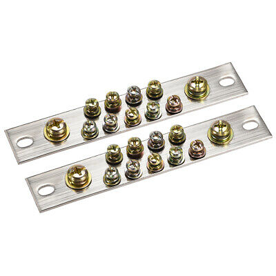 Copper Screw Terminal Block Connector Bar 100A Double Row 11 Positions 2 Pcs