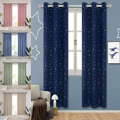 Star Thermal Blackout Curtains PAIR Eyelet Ready Made Kids Boys Girls+TIE BACK