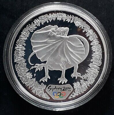 2000 Australia Sydney Olympic Collection ( 99.9% ) $5 Coin Frill-necked Lizard