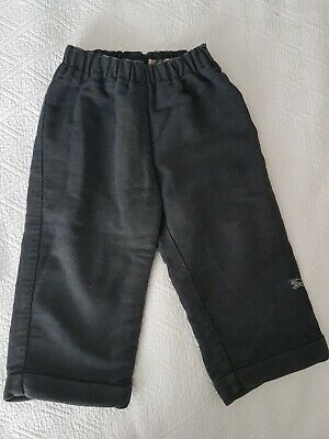 Infant Baby Boy Genuine Designer Burberry Grey Lined Chino Trousers 18 Months