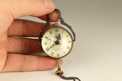 chinese old glass copperr Mechanical Movement pocket watch collectable