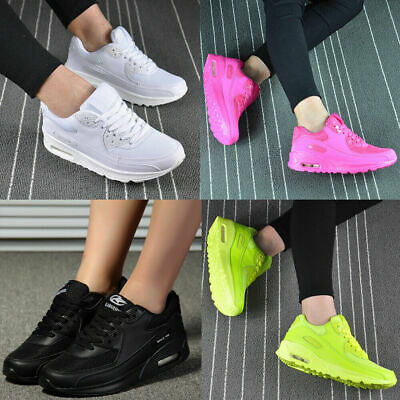 Womens Sport Gym Trainers Air Cushion Lace Up Sneaker Ladies Casual Shoes Size