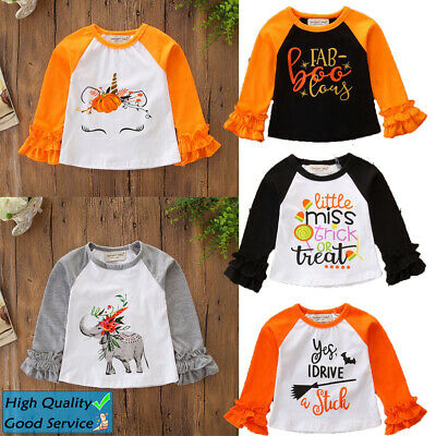 Kids Halloween Costume Girls Long Sleeve T-Shirt Tops Baby Toddler Printed Shirt