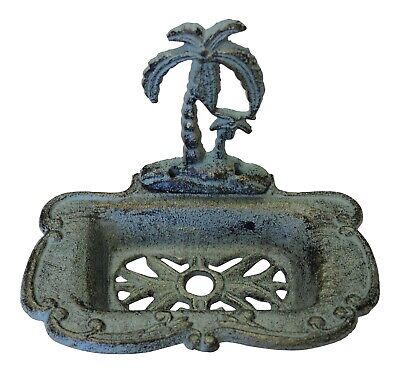 Palm Tree Soap Dish Holder Cast Iron Green Antiqued Finish