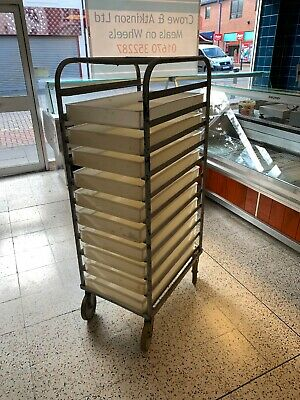 10 Pizza Dough Bakery Trays 75x45x10cmWhite- Stackable Trays + Trolley
