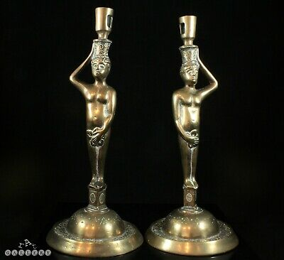 Antique Pair Medieval / Gothic Revival Figural Solid Bronze Candlesticks