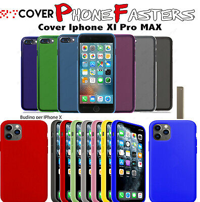Cover iPhone 11 Pro Max Apple Silicone Trasparente Soft Colorate TPU Morbide