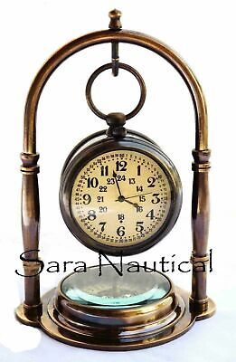 Marine Antique Brass Desk Clock With Compass Station Style Nautical Pocket Watch