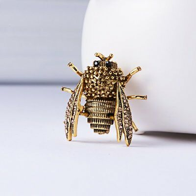 Fashion Gold Crystal Cicada Insect Brooch Pin Women Custome Jewelry Xmas Gifts