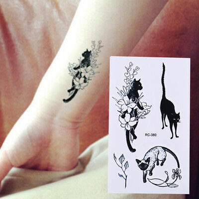 Stickers tatouage temporaire noir chat eau transfert Flash Tatoo FakWLFR