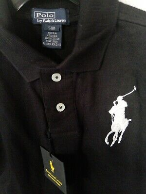 Kids Ralph Lauren Black polo shirt. Size S (8) Genuine.  New with tags!