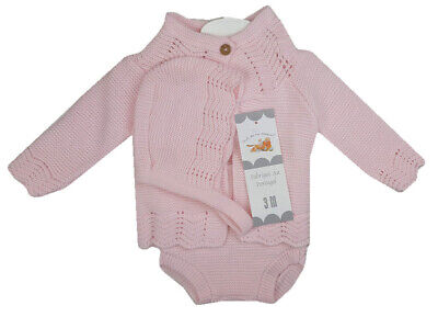 Baby Girls Spanish Romany Set Pink Knitted Cardigan Jam Pants & Bonnet Outfit