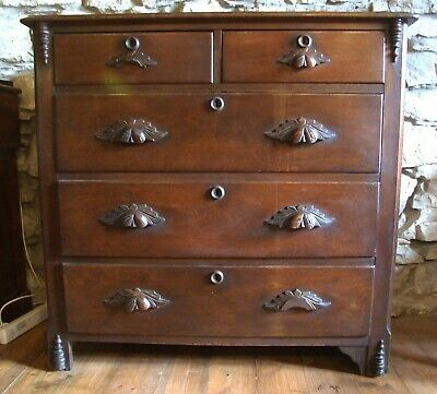 Antique Victorian mahogany CHEST of DRAWERS 2 over 3 wooden handles
