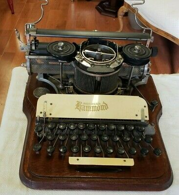 Antique  Hammond Typewriter ~Oak  Wooden Case~ Circa late 1800`s  Gold Model