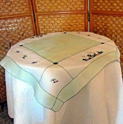 Vintage Fine Rice Linen Tablecloth White & Green, Embroidered, Asian Theme