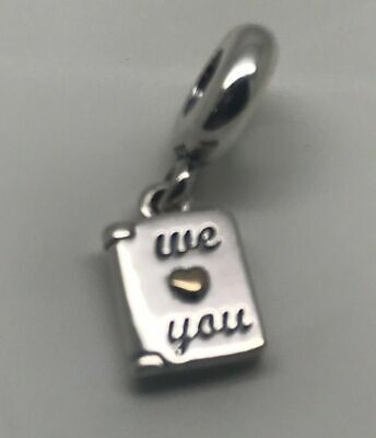 * Mother's Day Pandora We Love You Charm Sterling 14k Gold Mother New Retired