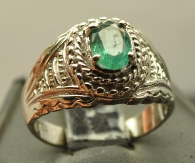 .91Ct Bluish Colombian Emerald .925 Sterling Silver Mens Ring Sz 10.25