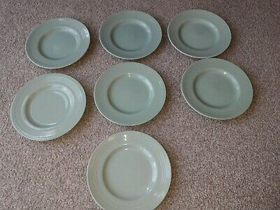 """Vintage Woods Ware  """"Beryl"""" - Seven Green Pottery 6 3/4 Inch Side Tea Plates"""