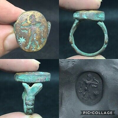 wonderful unique medieval ancient bronze seal ring