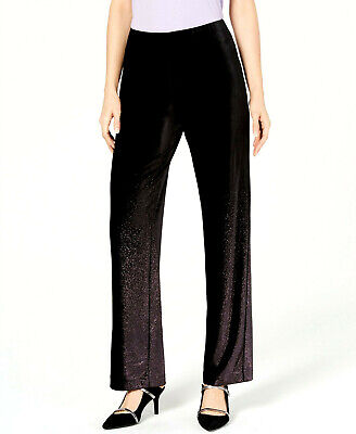 Alfani Women's Black Foil Ombre Velvet Metallic Pull-On Pants Petite Size PP $79