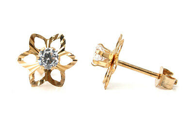 9ct Gold Amethyst Daisy Stud Earrings Gift Boxed studs Made in UK
