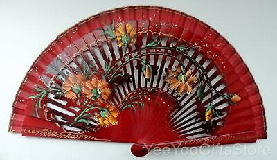 FINE Chinese/Japanese PIERCED LACQUER hand-painted FLOWERs  brise FAN