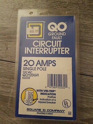 Square D QO120GFI 20 Amp Ground-Fault Circuit-Interrupter NEW in Package