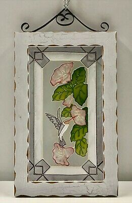 """Stained Glass 16"""" Window Sun Catcher Framed Panel HUMMINGBIRD FLORAL"""