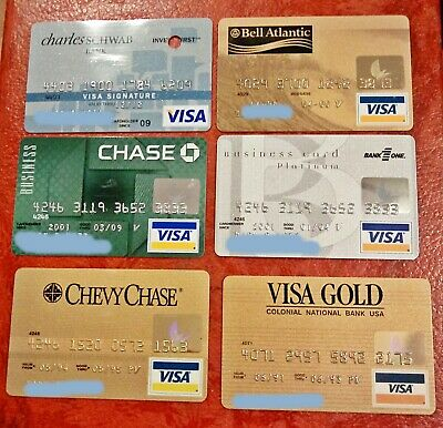 Vintage Collectible Visa Credit Cards ~ Lot Of 6 For One Money ~ All Different