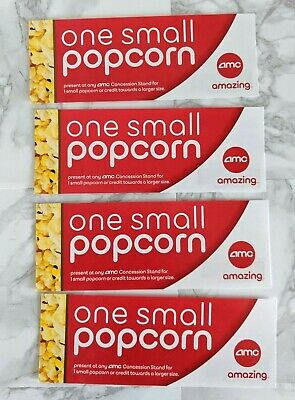 AMC Theater Snack Tickets: 4 Small Popcorn Vouchers, No Expiration Date