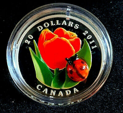2011 Canada 1oz Silver .999 $20 Tulip with a Handcrafted Venetian Glass Ladybug