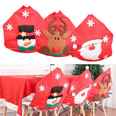 Christmas Seat Cover Chair Santa Elk Hat Dinner Home Xmas Table Decoration