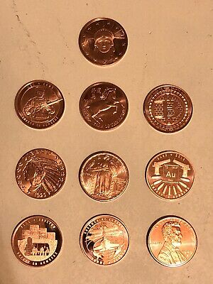 ✳️ Lot of 10 COPPER 1 oz. Rounds.  Random Selection ❤️ Great Starter Set ❤️ NEW
