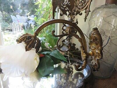 Charming Antique French Acanthus Leaf Scroll Brass Wall Lamp ~Glass Flower Shade