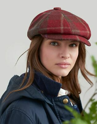 Joules Womens Hoxthorpe Baker Boy Hat in RED CHECK Size M