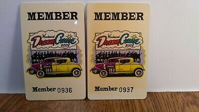 VINTAGE Detroit Oakland County Woodward Dream Cruise 2002 PAIR of MEMBER CARDs