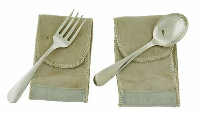 Antique 1850 S Kirk & Son Old Maryland Plain Sterling Silver Baby Fork & Spoon