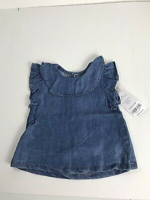 Carters Baby Girls 6 Month Top Shirt Cap Sleeve Snaps Blue NWT